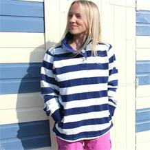 HARBOUR SUPER SOFT STRIPED BUTTON NECK SWEATSHIRT
