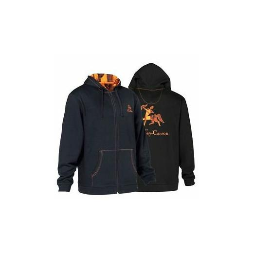 VERNEY-CARRON BLACK / ORANGE ZIPPED HOODY