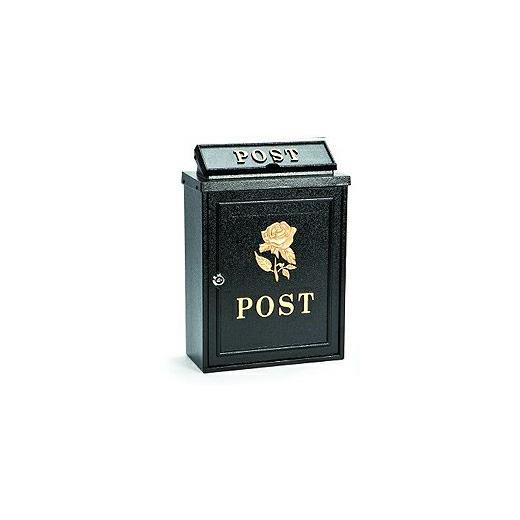 Aluminium post box with gold rose design
