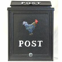 Aluminium post box with cockerel design