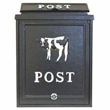 Aluminium post box with cow design