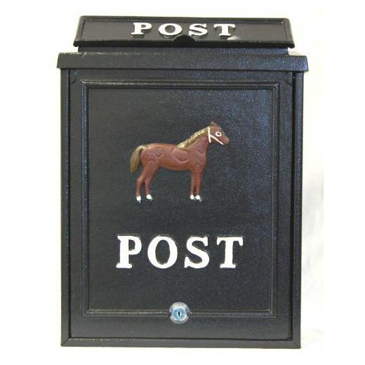 Aluminium post box with horse design