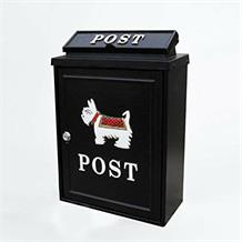 Aluminium post box with scotty dog design