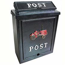 Aluminium post box with tractor design