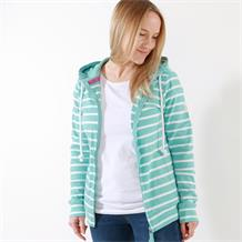 STRIPED ZIP THRU SWEATSHIRT SOFT TURQUOISE
