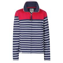 STRIPED ZIP THRU SWEATSHIRT CERISE