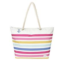 CANVAS BEACH BAG BRIGHT ROSE MULTI