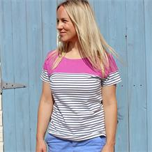 SHORT SLEEVE PANEL BRETON TOP RASPBERRY