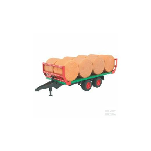BRUDER ROUNDABLE TRAILER WITH 8 BALES