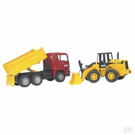 BRUDER MAN TIPPING TRUCK WITH WHEELED LOADER